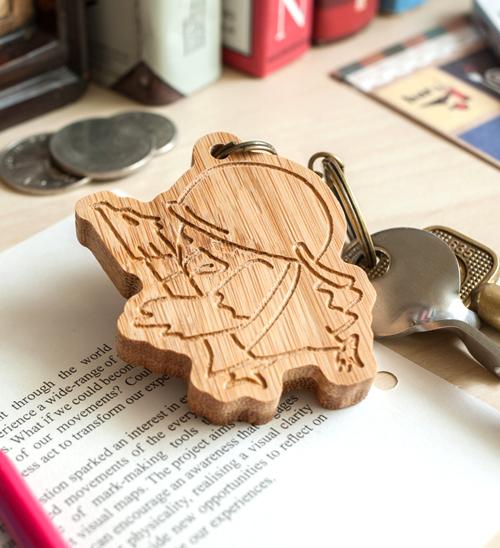 幸福森林.竹製可愛動物鑰匙圈 客製化禮物 老鷹男孩