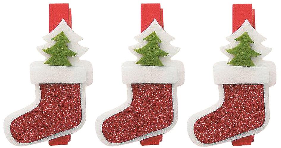 X射線【X077106】聖誕襪夾子(3入),聖誕節/聖誕佈置/聖誕掛飾/聖誕裝飾/聖誕吊飾/聖誕花材