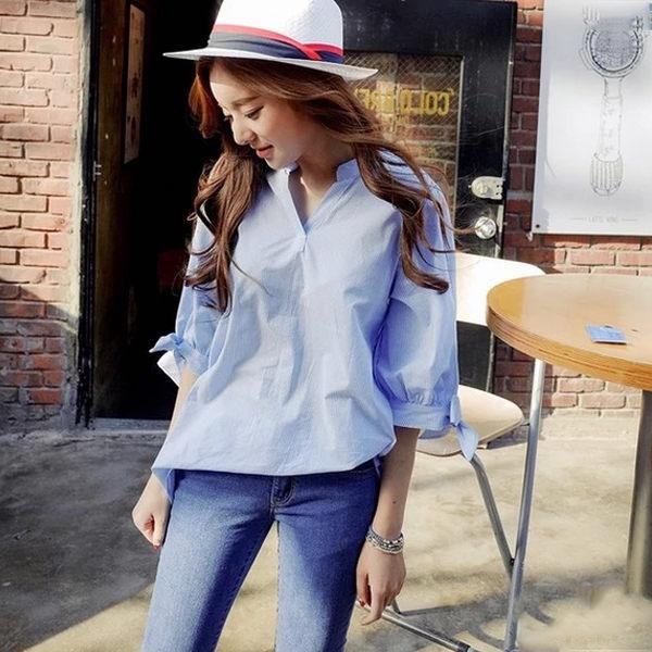 PS Mall 韓版條紋休閒顯瘦短袖襯衫【T052】