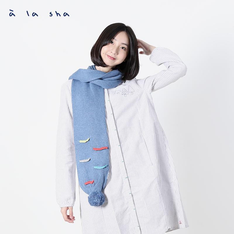 a la sha Qummi 彩色線條毛線球圍巾