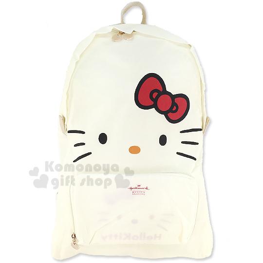 〔小禮堂〕Hello Kitty x Hallmark 可折疊後背包《白.大臉》可掛於行李箱桿上