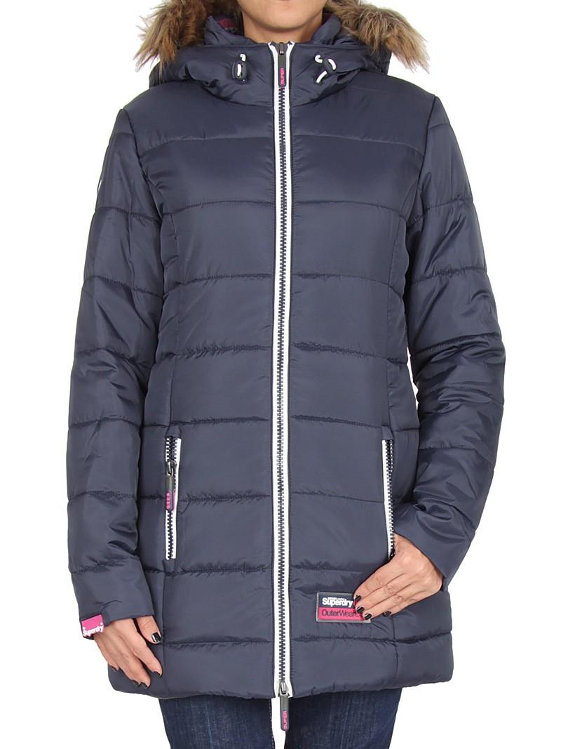 【女款】極度乾燥 Superdry 海外獨家 長板羽絨衣 外套 英國經典 防風 超輕質連帽 藍白 黑紫