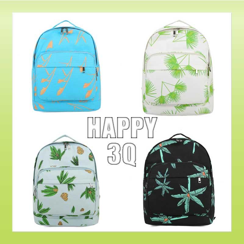 印花帆布包雙拉鍊雙肩包筆電包夾層前袋書包後背包-椰子樹/黑/天藍/白【AAA0808】