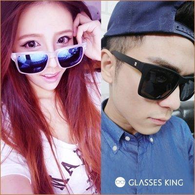 眼鏡王☆海邊比基尼鉚釘大框方形方框墨鏡太陽眼鏡韓國反光鏡片黑螢光綠藍色透明水銀S9