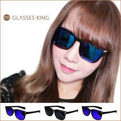 眼鏡王☆閃電星星流星金屬裝飾街頭龐克潮流韓國復古方框小框太陽眼鏡墨鏡黑色反光S166