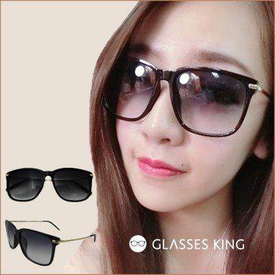 眼鏡王☆正妹金屬精緻大框墨鏡太陽眼鏡方框復古細框少女時代千頌伊霧黑色正韓國S139
