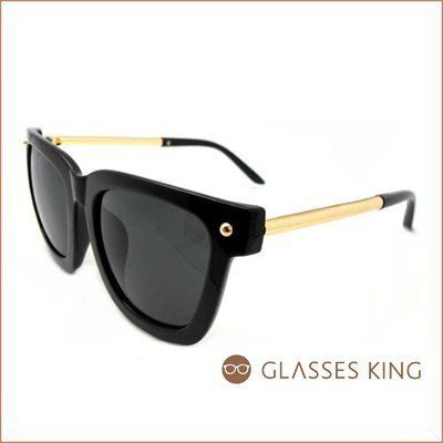 眼鏡王☆現貨!側邊霧面歐美時尚金屬鏡架小圓珠豹紋咖啡黑色超黑灰鏡片墨鏡太陽眼鏡S126