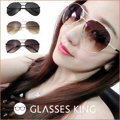 眼鏡王☆歐美風金屬正妹大框方框高級金屬雷朋太陽眼鏡細框墨鏡正韓國黑色咖啡金色S135