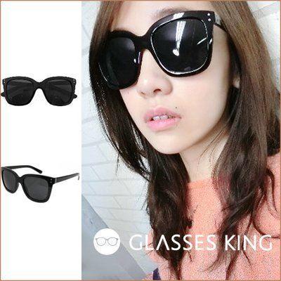 眼鏡王☆現貨方框韓國復古粗框大框雙圓點太陽眼鏡墨鏡明星款百搭基本超黑色!S-49