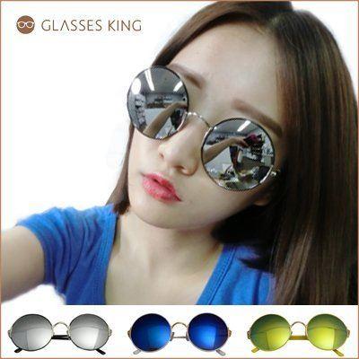 眼鏡王☆圓框彈性鏡架顯瘦正妹韓國復古小臉細框墨鏡太陽眼鏡UV400海灘反光白黑藍黃粉紅S205