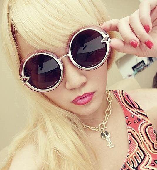 眼鏡王☆現貨水晶透明箭頭超圓形圓框超大框歐美復古太陽眼鏡墨鏡黑色綠色藍金紫粉紅S4