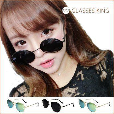 眼鏡王☆金屬雷朋金色復古現貨墨鏡小框圓框韓國帥氣反光鏡片太陽眼鏡鏡面水銀藍綠黑色羅志祥S170