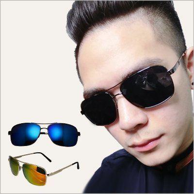 眼鏡王☆金屬質感雷朋經典復古大框方框韓國型藍正妹反光太陽眼鏡墨鏡漸層黑色藍綠橘黃紅S176