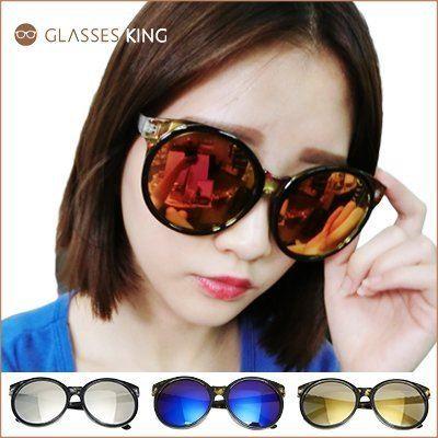 眼鏡王☆圓框復古可愛俏皮金屬正韓國正妹歐美文青太陽眼鏡墨鏡夏日海邊黑色反光藍綠黃紅白色S209