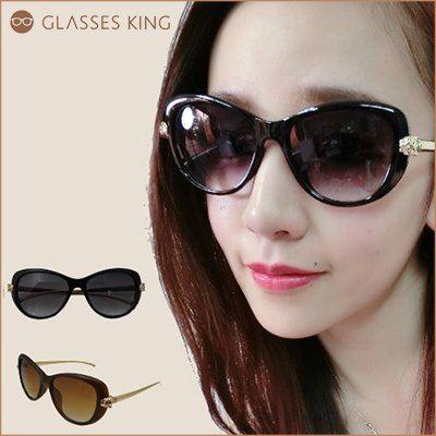 眼鏡王☆現貨!歐美復古貓眼豹頭正妹大框韓國高品質金屬膠框墨鏡太陽眼鏡黑色咖啡S137