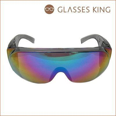 眼鏡王☆超大框水銀彩色反光鏡片墨鏡太陽眼鏡誇張雪鏡風羅志祥尾牙表演舞會黑色藍S-101