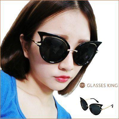 眼鏡王☆潮流貓眼誇張時尚歐美圓框韓國金屬復古墨鏡太陽眼鏡反光白黃黑色S198
