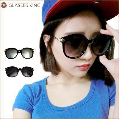 眼鏡王☆金屬箭頭大框圓框韓國顯瘦小臉細鏡腳墨鏡太陽眼鏡UV400海邊正妹反光白黑色S210