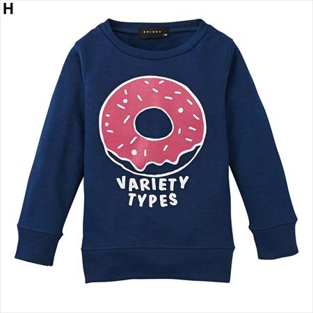 【這裡現貨出清】不用等! 日本空運nissen  -童裝-女孩特價設計款印花背絨針織衫-深藍