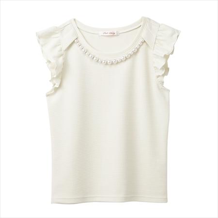 日本空運nissen  -女裝-附珍珠項鍊袖荷葉邊上衣-象牙色