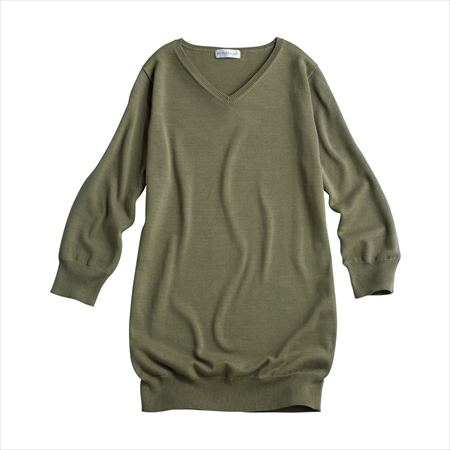 日本空運nissen  -女裝-抗UV100%純棉七分袖V領針織長上衣-綠色系