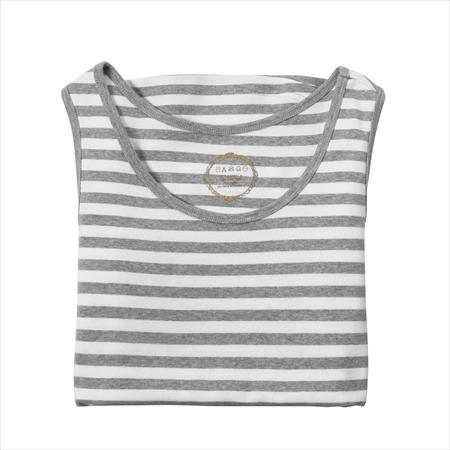 日本空運nissen  -女裝-抗UV100%純棉背心-灰色×白色條紋