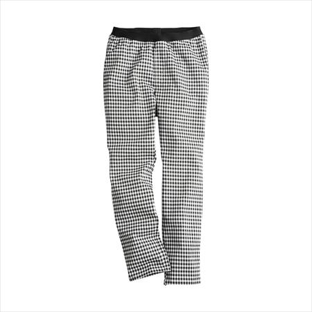 日本空運nissen  -女裝-超彈性內搭褲風印花緊身七分褲(下襠長54cm)-白色×黑色系格紋