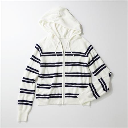 日本空運nissen  -女裝-凸紋編織條紋針織連帽外套-白色系