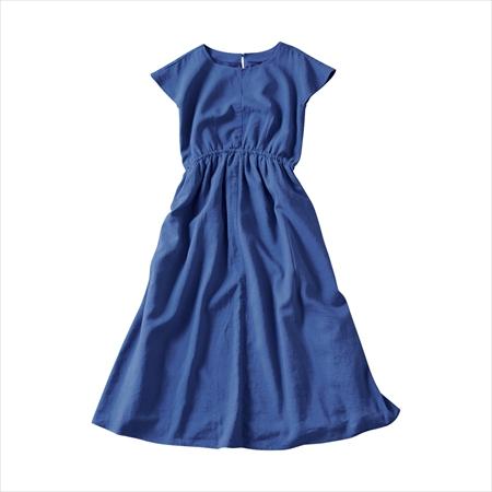 日本空運nissen  -女裝-混麻中長版洋裝-藍色