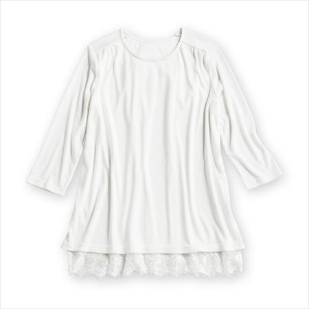 日本空運nissen  -女裝-背後薄紗七分袖上衣-白色