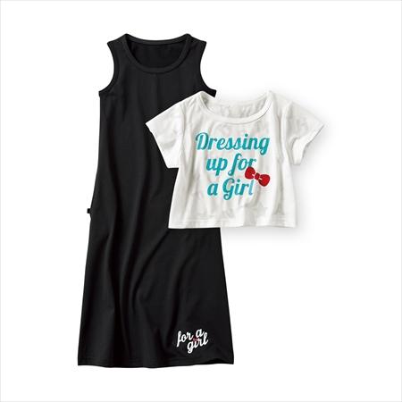 日本空運nissen  -童裝-2件組(長裙+短T恤)-黑色+白色