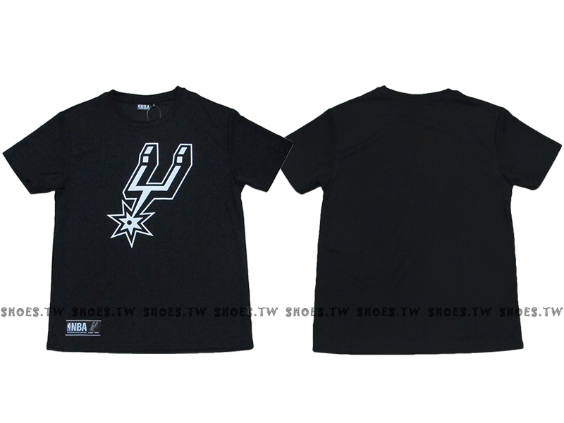 《換季折扣》Shoestw【8630236-020】NBA 排汗T恤 聖安東尼奧 馬刺隊 透氣布 快速排汗 黑色