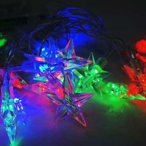 聖誕燈 LED20燈透明星星電池燈 (彩光) (高亮度又環保)YS-XLB020002