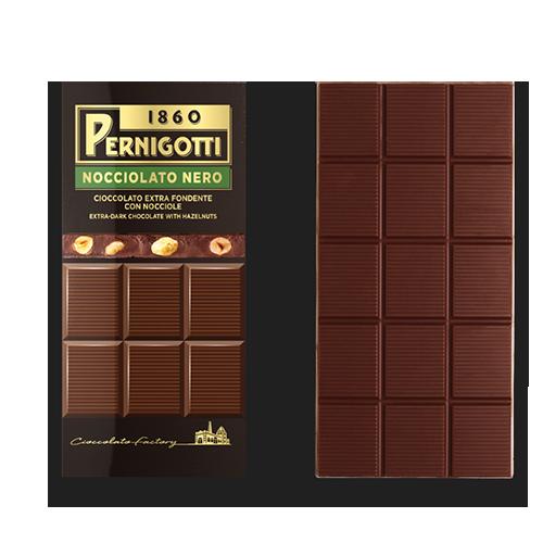 【派尼克帝PERNIGOTTI】義大利進口金磚巧克力★顆粒榛果70%黑巧克力片裝125g★