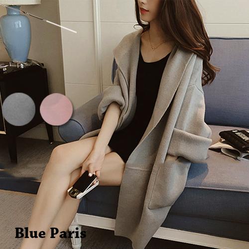 外套 - 純色長袖開衫寬鬆磨毛連帽大衣 外套【29162】藍色巴黎《2色》現貨+預購