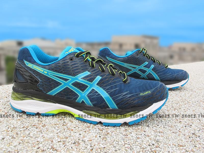 Shoestw【T600N-5843】ASICS 慢跑鞋 GEL NIMBUS18 藍水藍 亞瑟膠 吸震緩衝 IGS標準