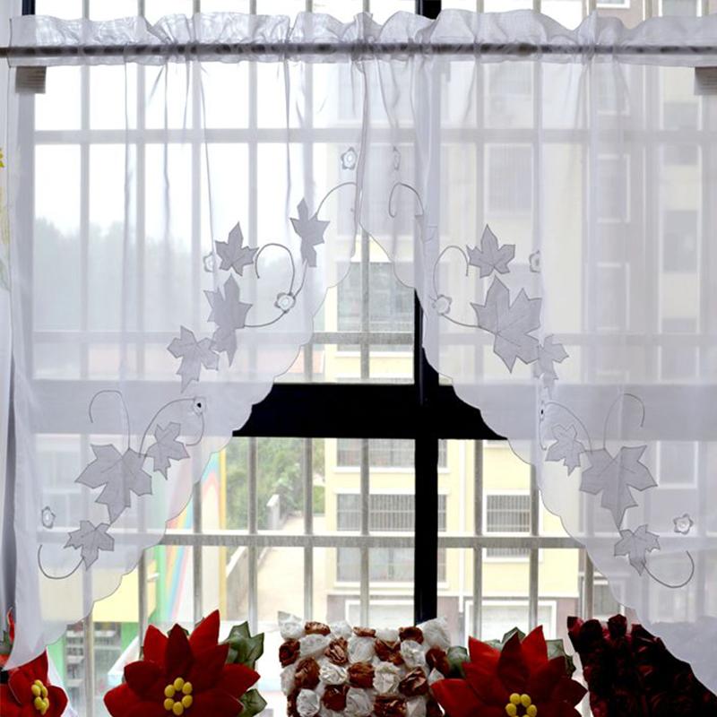 +楓葉白紗三角對門簾 【兩片平鋪寬150cm】☆穿桿對簾設計可當窗簾&門簾+
