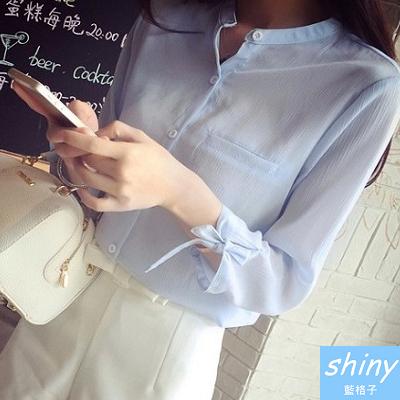 【V3519】shiny藍格子-秋薰芳恬‧秀氣圓領寬鬆七分蝴蝶結綁帶袖口襯衫