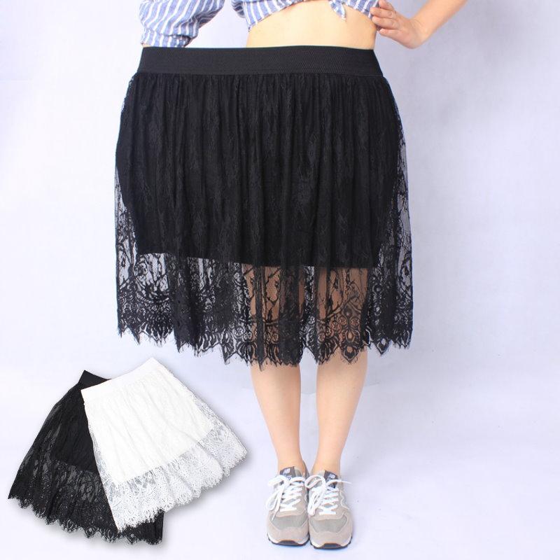 【紐約七號】A3-017 大尺碼高腰透視性感蕾絲網紗裙半身裙 2色 XL~5XL