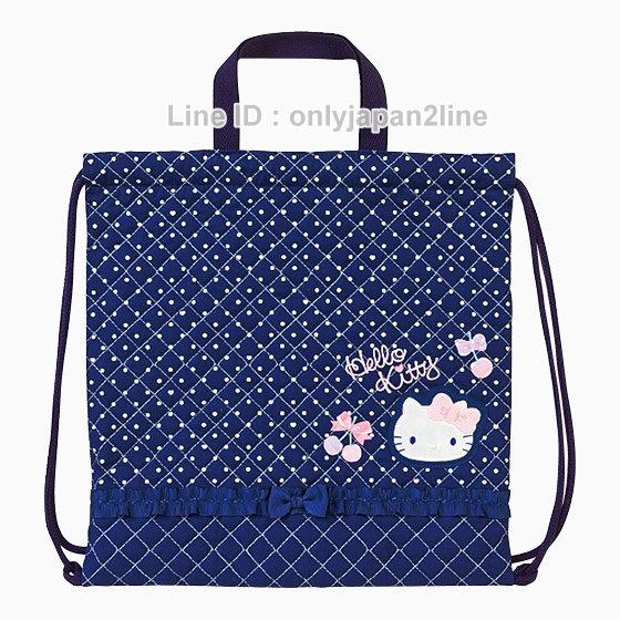 【真愛日本】4901610972410 兩用束口提背袋-KT藍   三麗鷗Hello Kitty凱蒂貓  手提包 後背包