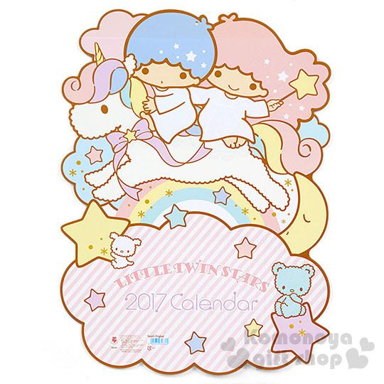 〔小禮堂〕雙子星 2017日製造型壁掛月曆《L.粉.獨角獸上.彩虹.雲》