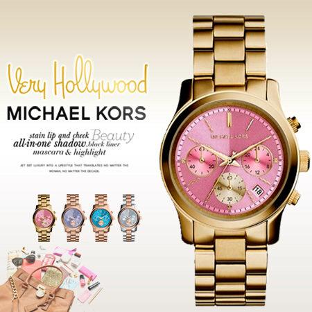 美國Outlet 美國正品代購 Michael Kors MK 不鏽鋼 淺粉 金錶帶 三環計時日曆 手錶 腕錶 MK6161