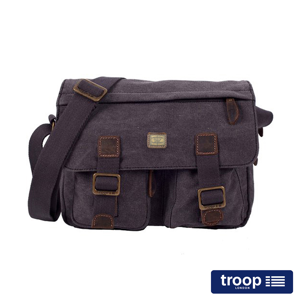 【TROOP】簡約質感HERITAGE斜背包/TRP0271BK