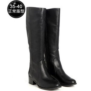 2MUCH拼接長筒皮靴-黑色(35-39)
