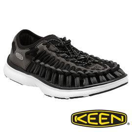 Keen UNEEK O2女拉繩涼鞋- 黑/白 1015575