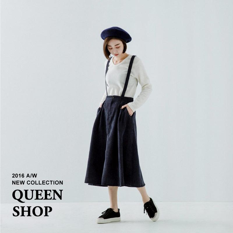 Queen Shop【03060118】燈芯絨前打褶吊帶裙 兩色售*現貨+預購*