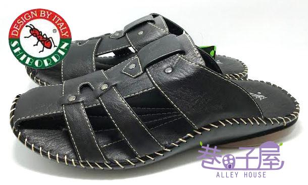 【巷子屋】SHIBORDIN喜伯登 紅螞蟻 男款包頭皮質休閒拖鞋 [409] 黑 超值價$298