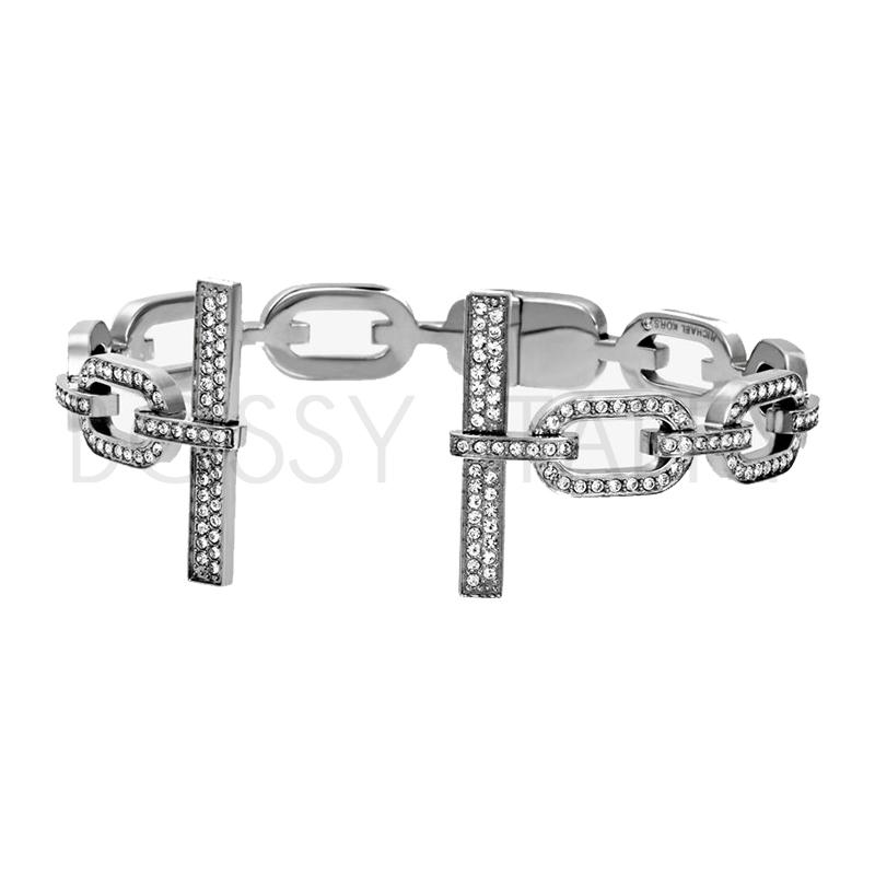 MICHAEL KORS 經典銀名媛鑲鑽袖扣手環 MK Pavé Silver-Tone Cuff