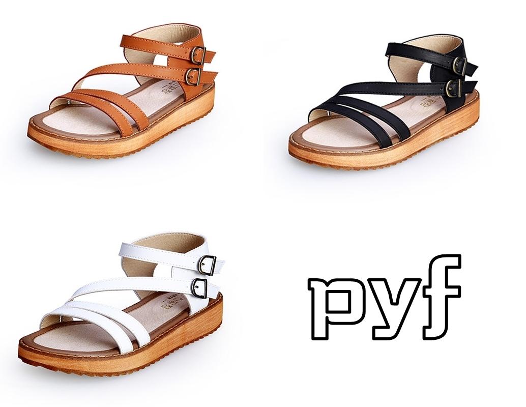 Pyf ♥ 真皮羅馬扣帶涼鞋 加大尺碼 44 45 大尺碼女鞋