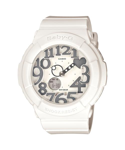 CASIO BABY-G BGA-134-7B灰白雙顯流行腕錶/白面43.1mm